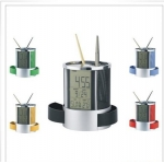 Pen holder calendar lcd clock alarm clock